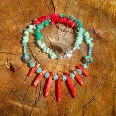 Gemstone Boho necklace by AngelsJewelleryOz on Etsy