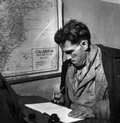 ITALY. Calabria. Town of Rogiano Gravina. 1950. The battle against illiteracy. Peasant during a writing class.