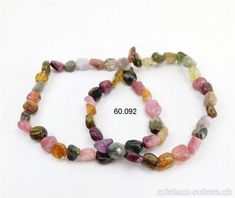 Bracelet Tourmaline toutes couleurs 5 - 7 mm, élastique 19 cm Beaded Bracelets, Jewelry, Crystals, Colors, Jewellery Making, Jewels, Pearl Bracelets, Jewlery, Jewerly
