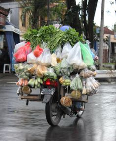 Market on a bike. On the road to Ubud, Bali