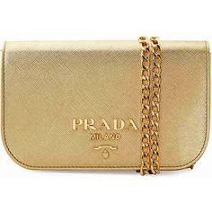 Prada Medium Shoulder Bag - Platinum ($899) ❤ liked on Polyvore featuring bags, handbags, shoulder bags, flap purse, chain strap shoulder bag, shoulder handbags, shoulder bag purse and shoulder hand bags
