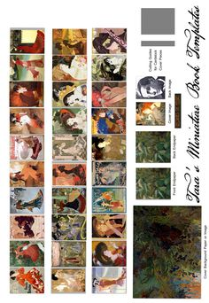 "My Newest Free Miniature Book Printie on Art Nouveau Artist Georges de Feure.  Make your own 1.5"" Dollhouse book with full color pages!"