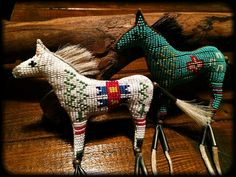Two Beaded horse amulets