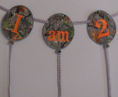 Camo Birthday Fabric Banner for a Party  or by TickleYourFancyShop