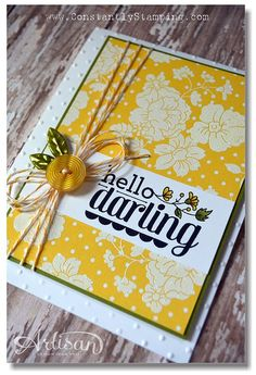 Connie created her own dsp by stamping the Hello Darling flower on this dotted print and embossing it in white. Clever! All supplies from Stampin' Up! except the leaf embellishments.