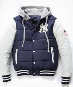 17176fce405 New York Yankees Hooded Varsity Jacket Navy and White [New York Yankees  Hooded Varsity Jacket