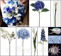 DIY Blue & White Wedding Bouquet with Blue Hydrangea & Delphinium, White Calla Lilies, Lilacs, and Tulips. #bluewedding #royalbluewedding #bluehydrangeabouquet #afloral