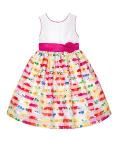 White & Yellow Floral Stripe Dress - Infant & Toddler