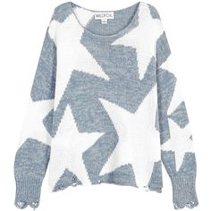 Wildfox Lucky Stars Cotton Blend Jumper - Size XS ($350) ❤ liked on Polyvore featuring tops, sweaters, distressed sweater, intarsia sweaters, wildfox sweater, drop-shoulder tops and wildfox jumper