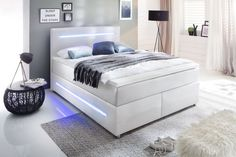 Boxspringbett 140 x 200 cm LIGHTS H2 weiß » Mega Möbel Lit Simple, Textiles, Decoration, Mattress, Lights, Bed, Furniture, Home Decor, Products
