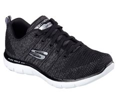 03ceeae4d193d A sporty favorite gets even better in the SKECHERS Flex Appeal - High  Energy shoe. Soft flat knit fabric upper in a lace up athletic sporty  training sneaker ...