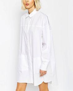 LAB Oversized Poplin SHIRT DRESS White trending clothes Oversized shirt dress…