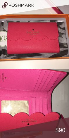 coral/pink Kate spade scalloped wallet super cute wallet perfect for spring and summer. Pink/Coral scalloped kate spade Bags Wallets