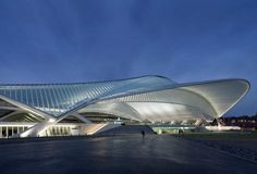 The Liège-Guillemins TGV railway Station by Spanish architect Santiago Calatrava, is made by a vaulted glass and steel canopy in Liege, Belgium. Dynamic Architecture, Architecture Visualization, Futuristic Architecture, Beautiful Architecture, Architecture Design, Santiago Calatrava, Building Art, Building Facade, Zaha Hadid Architects