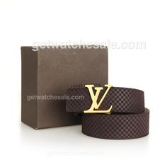 Louis Vuitton Men's Damier Calfskin Leather Belt, Polished Gold Initial LV Buckle, Dark Coffee , Set off your daily accessory with this cute belt from Louis Vuitton;Free Shipping on all Orders Worldwide. Our Price: $79.00, If you want to see more fake louis vuitton belts for sale, just feel free to visit  www.getwatchesale.ru/cheap-louis-vuitton-belts-on-sale-cb290.html