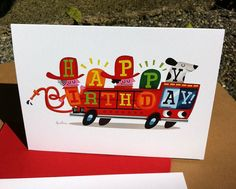 Firetruck Birthday Card by dpsullivan on Etsy, $6.00