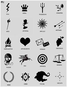percy jackson drawing of cabin symbols yaaasss so cool! Greek Mythology Tattoos, Greek And Roman Mythology, Greek Gods And Goddesses, God Tattoos, Tatoos, Wiccan Tattoos, Fandom Tattoos, Tatuagem Percy Jackson, Percy Jackson Zeichnungen