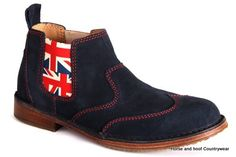 Chatham Marine LTD Ranger Country Union Jack Chelsea Boot - Navy Vibrant navy suede high quality wing tip chelsea boot made on a stacked leather heel