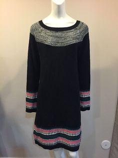Athleta Cotton Cashmere Blend Fair Isle Trim Black Sweater Dress Medium #Athleta #SweaterDress