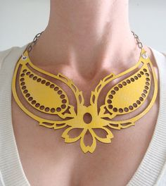 Yellow embossed paisley leather necklace