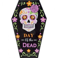 Celebrate Day of the Dead with a floral sugar skull coffin that will look great anywhere in your home this halloween. Shop Dollar General's selection of Halloween merchandise. Day Of The Dead Artwork, Holiday Pictures, Coffin, Floral, Decor, Day Of The Dead, Death, Decoration, Vacation Pictures