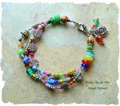 Colorful Multi Strand Bracelet, Bohemian Jewelry, Tribal Bracelet, Hippie, Boho Chic, Boho Style Me, Kaye Kraus by BohoStyleMe on Etsy