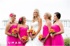 Hot Pink Bridesmaids Dresses \\ Photo Credit: Bauman Photographers