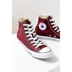 Converse Chuck Taylor All Star Maroon High Top Sneaker (€54) ❤ liked on Polyvore featuring shoes, sneakers, lace up high top sneakers, high top trainers, high top sneakers, cap toe shoes and hi tops