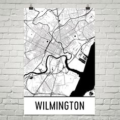Wilmington Map Art Print, Wilmington DE Art Poster, Wilmington Wall Art, Wilmington Print, Map of Wilmington, Birthday, Gift, Modern, Art