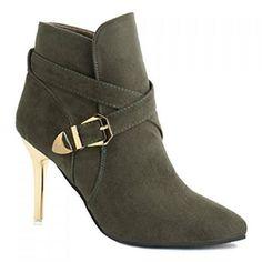 """Stiletto Heel Point Toe Buckle Cross Strap Suede Ankle Boots. Colors: Black, Blackish Green, Yellow. Size: 37, 38, 39.… #Vivoren #Fashion"