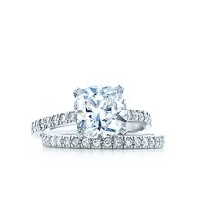 Tiffany & Co. | Engagement Rings | Cushion cut with a diamond band or fork band is beautiful (as long as diamond has a low profile, not tall)