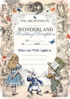 ALICE IN WONDERLAND Printable Mad Hatters Tea Party Wedding Day Reception Invite Invitation