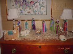 3-dimensional needlepoint nativity scene