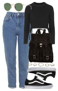 """Untitled #4432"" by style-by-rachel ❤ liked on Polyvore featuring Topshop, Vans, Proenza Schouler, Boohoo and Ray-Ban"