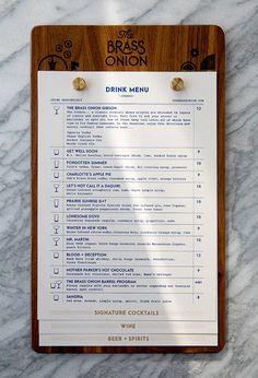 restaurant menu Brass Onion Menu by Carpenter Collective Menu Restaurant, Bar Menu, Restaurant Design, Cafe Menu Design, Food Menu Design, Menu Board Design, Menu Book, Book Cafe, Menu Resto