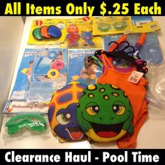 The 99 cents only store is having a massive $.25 clearance. The pool toys, swimsuits snorkeling gear and swimsuits were only a quarter each