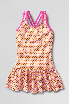 4f89579508 Girls' Smart Swim™ Pattern Skirted One Piece Swimsuit from Lands' End Lands  End