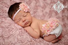Diaper Cover Photo Prop Victorian Pink and Cream Blossom Fancy Pants Bloomies and Headband Set adorned with Pink and Cream Hydrangeas