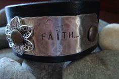 Leather Cuff with the word Faith stamped on #etsy.