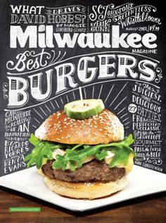 This is apparently a common idea for city magazines, to have their food issue be a chalkboard. There are a couple differences in this one that makes it different from the rest of the pack though. First off, this cover isn't all chalkboard as they've only used it for a backdrop. The other thing is that I feel like cover is lacking any depth at all so it looks artificial. There seems to be no interaction between the burger and plate with the chalkboard in the back. It looks like two images…