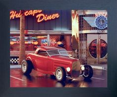 Give a new dimension to your home decor by simply adding this wonderful Vintage red ford Roadster at cafe diner car art print framed poster. This framed poster will definitely add a unique charm to your living space set up. It will be a great addition for any place. Its wooden espresso frame accentuates the poster mild tone. The frame is made from solid wood measuring 20x24 inches with a smooth gesso finish. This framed poster includes a wire hanger on the back for easy display.