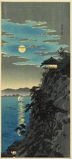 "huariqueje: ""Teahouse in the Moonlight - Takahashi Shotei c.1930s Japanese 1871-1945 Woodblock """