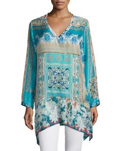 Chapman Long-Sleeve Printed Tunic  by Johnny Was at Neiman Marcus.