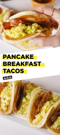 Pancake Breakfast Tacos are the savory yet sweet breakfast combo you didn't know you needed. Get the recipe at Delish.com. #pancake #breakfast #brunch #taco #breakfasttaco #delish #easyrecipe #recipe #hack