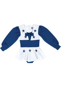 Your little one can cheer on their favorite team while wearing the NFL Dallas Cowboys Cheerleader Infant Cheer Uniform. This standard fit, long sleeve one-piece cheer uniform features a bow on the front along with applique stars. Dallas Cowboys Outfits, Dallas Cowboys Pro Shop, Cowboy Outfits, Dallas Cowboys Football, Cincinnati Bengals, Houston Texans, Denver Broncos, Pittsburgh Steelers, Costumes