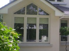 Looking for Unique Windows Styles? Browse through Carlson's window gallery for ideas and let Carlson custom design windows especially to suit you and your home. Upvc Windows, Dormer Windows, House Windows, Windows And Doors, Triangle Window, Gable Window, Serene Bedroom, Master Bedroom, Stone Exterior Houses