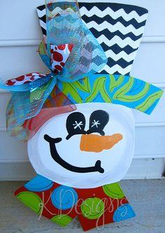 images of thanksgiving door hangers | SALE Funky cheerful snowman door hanger by paintchic on Etsy