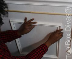 How to Install Picture Frame Moulding Wainscoting - ToolBox Divas Picture Frame Wainscoting, Wainscoting Height, Wainscoting Nursery, Wainscoting Bedroom, Dining Room Wainscoting, Wainscoting Panels, Picture Frame Molding, Picture Frames, Stair Paneling
