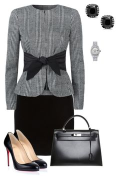 """Untitled #593"" by angela-vitello ❤ liked on Polyvore featuring Thierry Mugler, Armani Collezioni, Christian Louboutin, Hermès and Rolex"