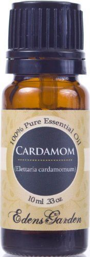 Cardamom 100% Pure Therapeutic Grade Essential Oil- 10 ml by Edens Garden. Save 41 Off!. $23.75. 100% Certified Pure Therapeutic Grade Essential Oil- no fillers, additives, bases or carriers added.. Edens Garden collection includes the following 128 oils- Adoration blend, Allspice, Angelica Root, Anise Star, Aphrodisiac blend, Balance blend, Basil, Bay, Bergamot, Birch, Black Pepper, Blood Orange, Breathe Easy blend, Cajeput, Calming blend, Camphor, Cananga, Caraway, Cardamom, Carrot…